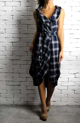 Navy/Grey Check Gracie May Dress | Unique Dresses | Handmade Dresses | ETTO Boutique