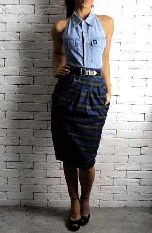 Navy/Green Tartan Hudson Midi Skirt | Women's Skirts | ETTO Boutique