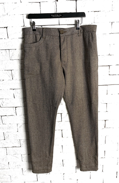 Lapel Suit Trousers - Brown Tweed Striped