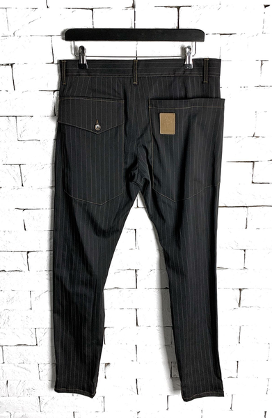 Lapel Suit Trousers - Black/Brown Pinstripe