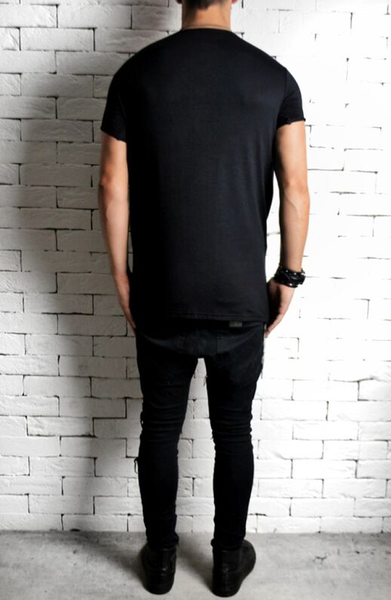 Directional Leather Embossed Panel T-Shirt - Black