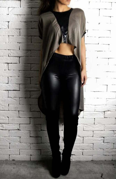 Alex Christopher Leather V Cape | women's tops at ETTO Boutique
