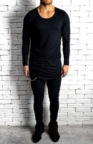 Directional Piped Long Sleeve T-Shirt - Black