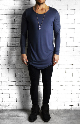 Directional Piped Long Sleeve T-Shirt - Grey