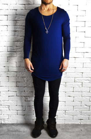 Directional Piped Long Sleeve T-Shirt - Navy