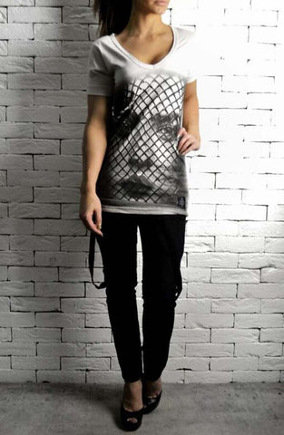 Alex Christopher Mesh Face V Neck T-Shirt
