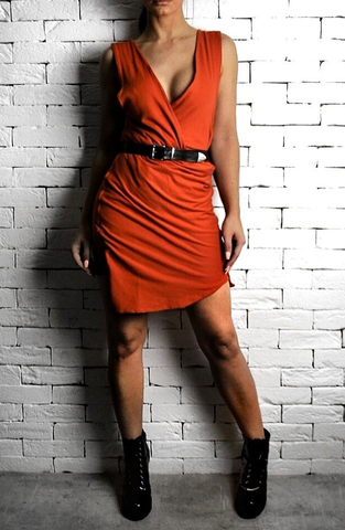 Orange Leather Strip Dress | Womens Unique Dresses | ETTO Boutique