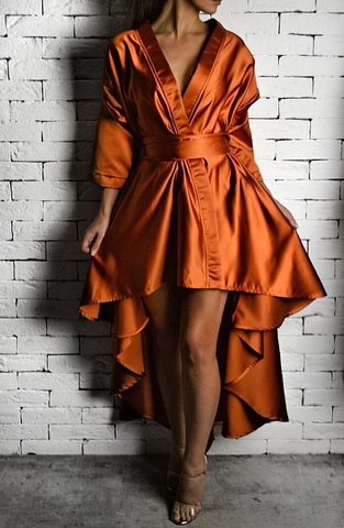 Orange AC Wrap Dress | Unique Dresses | ETTO Boutique
