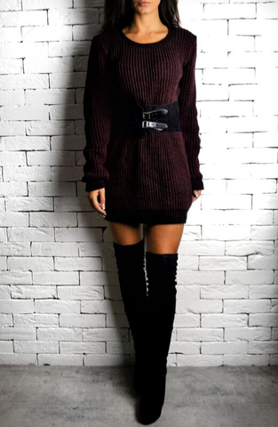 Oversized Jumper Dress - Maroon/Black