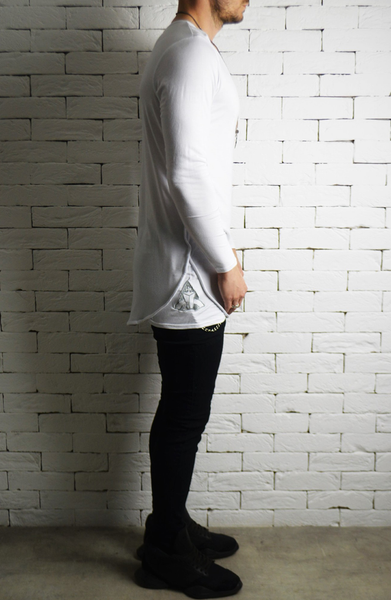 Directional Piped Long Sleeve T-Shirt - Cream