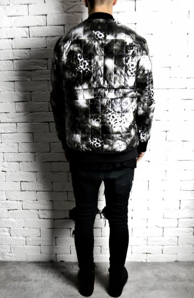 Quilted Animal Print Bomber Jacket