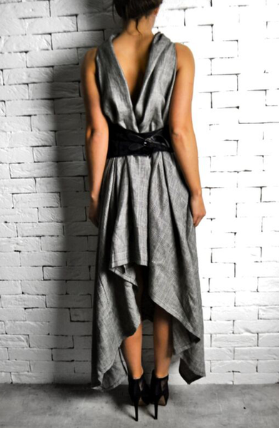 Alex Christopher Grey Check Raven Dress | Women's Occasion Dresses | ETTO Boutique