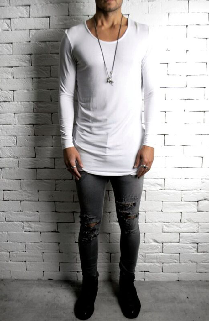 Alex Christopher Grey Ripped Skinny Jeans | Mens Jeans | Drop Crotch | ETTO Boutique