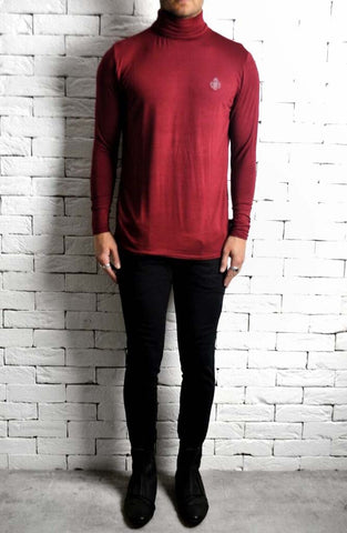 Maroon Roll Neck T-Shirt  | Mens Roll Neck T-Shirt | ETTO Boutique