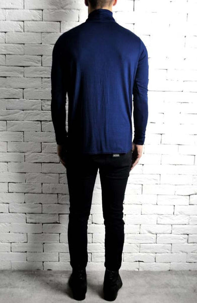Navy Roll Neck T-Shirt | Mens Roll Neck T-Shirt | ETTO Boutique