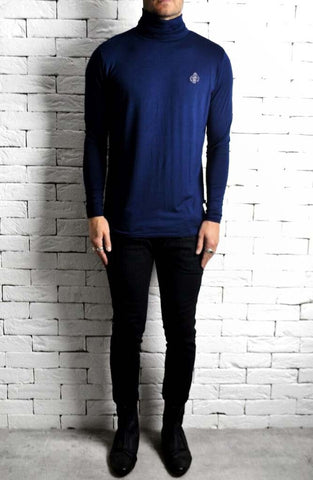 AC Roll Neck T-Shirt - Navy