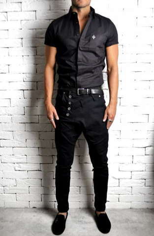 Alex Christopher Black Short Sleeve Shirt | Mens Formal Shirts | ETTO Boutique