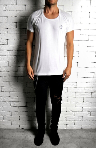 White Alex Christopher Sketch Roll Shoulder T-Shirt | Mens T-Shirts | ETTO Boutique