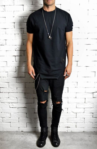 Alex Christopher Black Ripped Skinny Jeans | Mens Jeans | Drop Crotch | ETTO Boutique