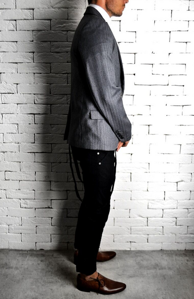 Tailored Suit Jacket - Grey Herringbone