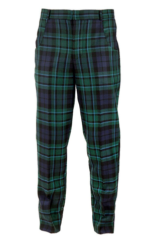 Tailored Suit Trousers - Green Tartan