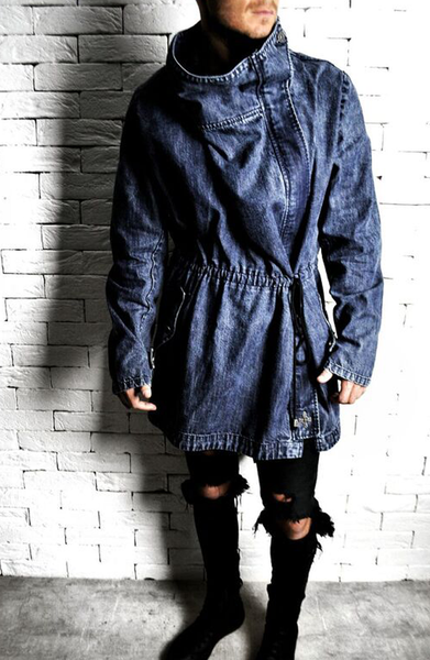 Trench Coat - Washed Blue Denim