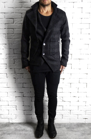 Two Way Blazer - Black/Grey Tweed