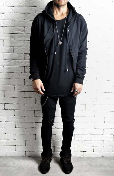 Directional Batwing Zipped Hoodie - Black