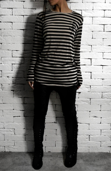 Long Sleeve Striped T-Shirt - Black/Cream