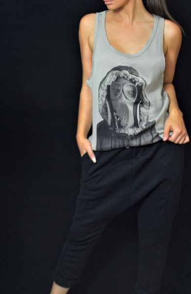 Gas Mask Printed Vest - Taupe