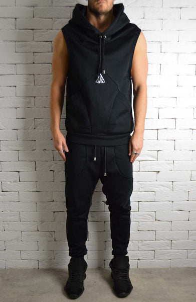 Directional Logo Sleeveless Hoodie - Black