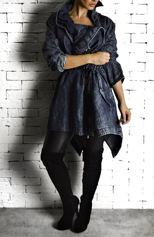 Washed Denim Trench Coat