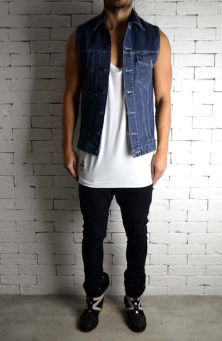 Biker Cut-Off - Blue Denim