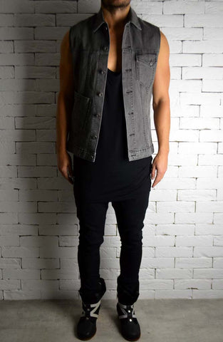Biker Cut-Off - Grey Distressed