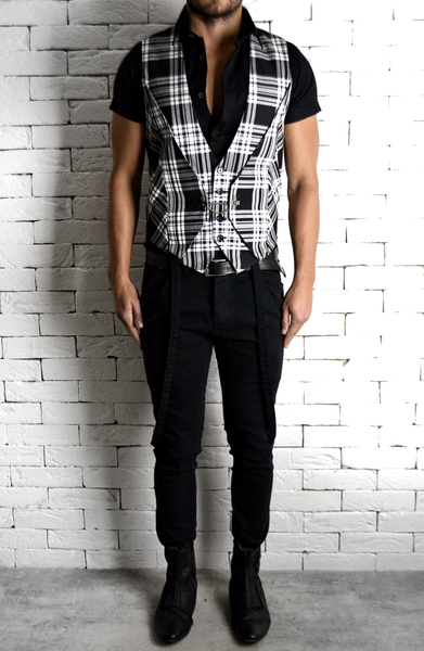 Black/White Tartan Waistcoat | Unique Menswear | ETTO Boutique