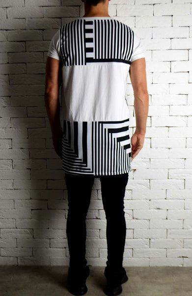 Block Sublimation T-Shirt - White and Stripe
