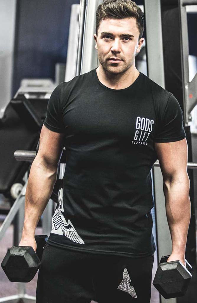 Black GG Hem Logo T-Shirt | Gym Clothing | ETTO Boutique