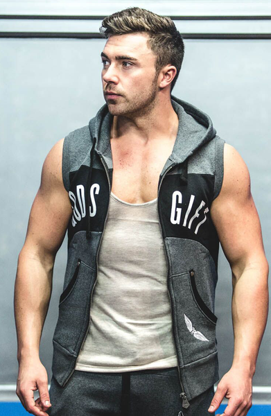 GG Sleeveless Contrast Gym Hoodie | Gym Clothing | ETTO Boutique
