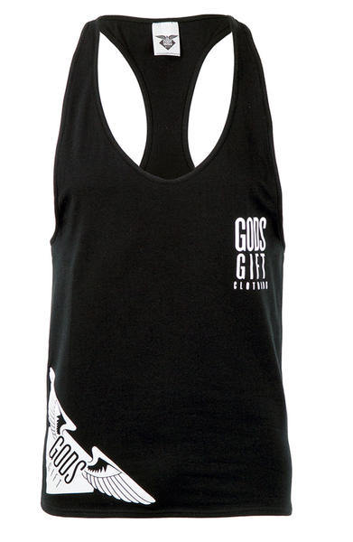 God's Gift Hem Logo Racer Back - Black