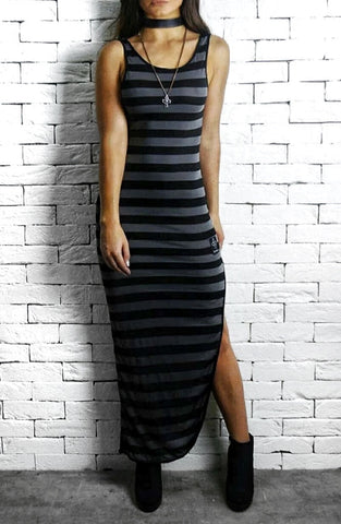 Maxi Backless - Black/Grey Stripe