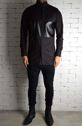 Directional Leather Panel Shirt - Black