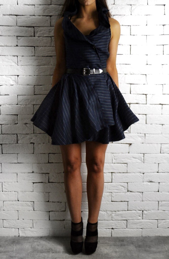 Navy Pinstripe Perry Dress | Unique Dresses | ETTO Boutique
