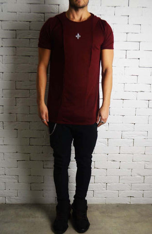 Slub Hooded T-Shirt - Wine