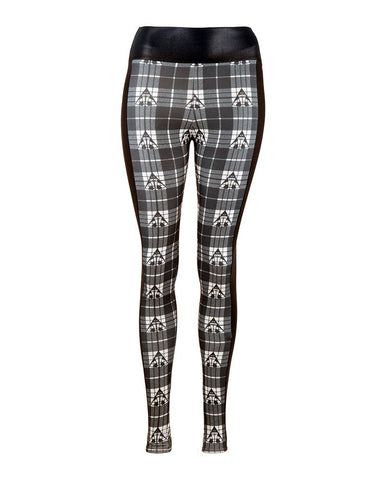 Directional Panel Leggings - White Tartan