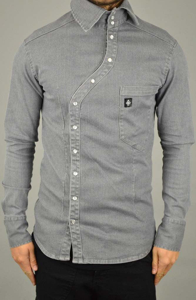 Wave Button Denim Shirt - Grey