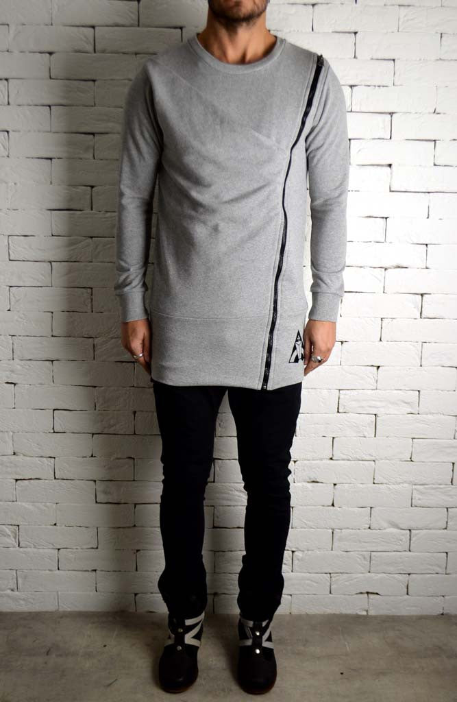 Directional Zipped Jumper - Grey