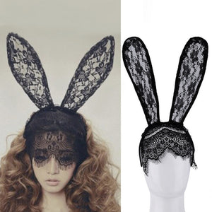 Women Girl Hair Bands Lace Rabbit Bunny Ears Veil Black Eye Mask Halloween Party Costume Party Headwear Hair Accessories