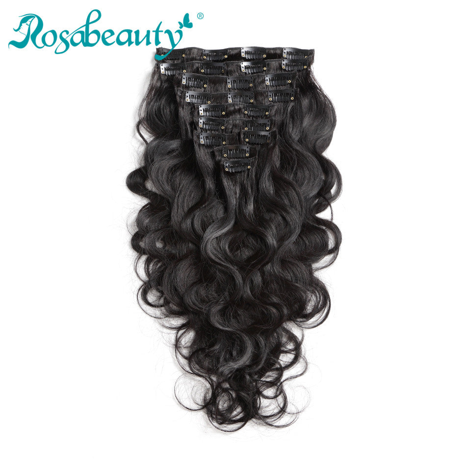Rosabeauty 10 Pieces/Set Clip In Human Hair Extensions Body Wave Natural Color 140G Remy Hair 14-22 inch
