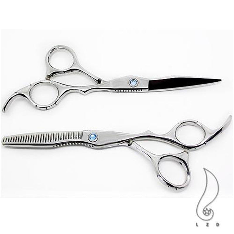 Silver Quality Barber Tool Regular Scissors Shears Hair Cutting Regular+Thinning Black Case Comb Home_use DIY New Gift