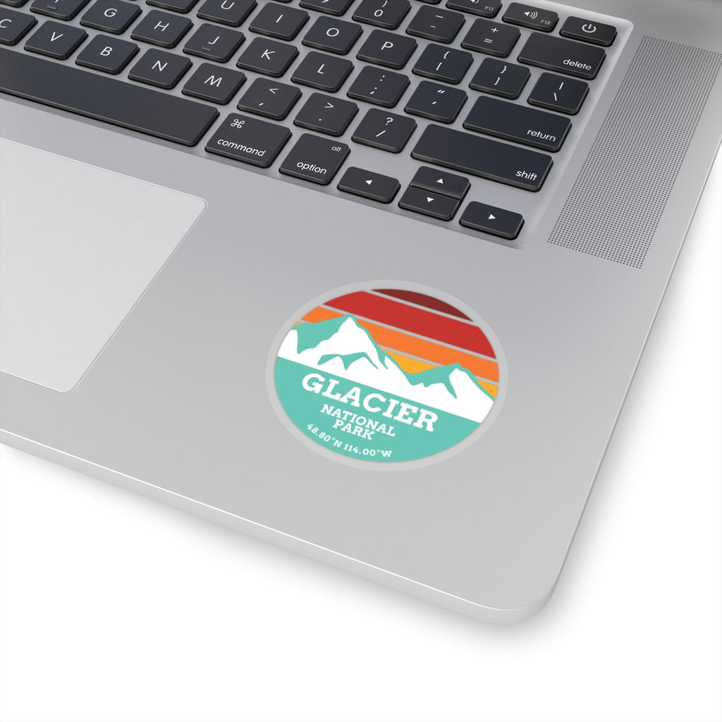 Glacier National Park Retro Mountain Sticker - Roam Free